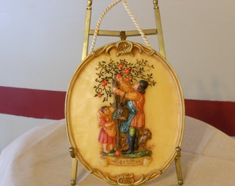 Vintage German Wax Wall Hanging