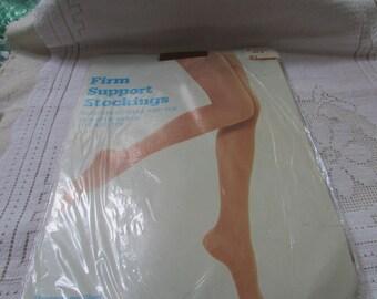 1 pair NOS 60's vintage seamless support nylon stockings NOS size 3  suntan