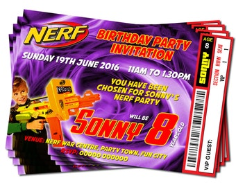 Printable Personalised Nerf Gun Party Theme - Birthday Party Ticket Style Invitations DIGITAL