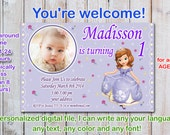Sophia the first Birthday Invitation, princess sophia birthday invitation, Sofia the first birthday invitation - Digital file
