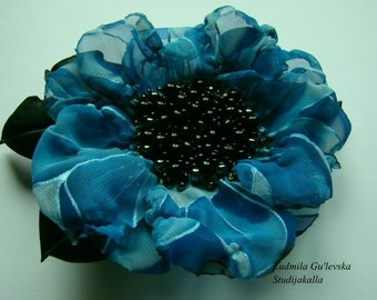 Wedding dress accessories, flower clip and pin, bridal dress accessory, blue color flower brooch.