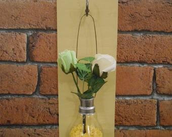 Hanging Light Bulb Bud Vase on Wooden Board