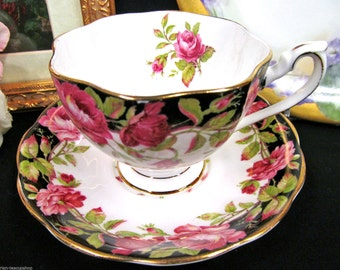 Queen Anne tea cup and saucer BLACK MAGIC ROSES pattern teacup