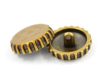 Metal Buttons - Soda Cap Oxidized Brass Metal Shank Buttons - 22mm - 7/8 inch - 6 pcs
