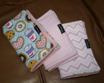 Burp Cloths set of 3, Burp Cloth set, Soft Burp Cloths, Cute Baby Burp Cloths, Flannel and Chenille Burp Cloths, PUL Burp Cloth set
