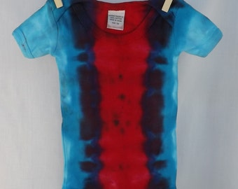 Stripe tie-dye bodysuit - red and blue - 3 month