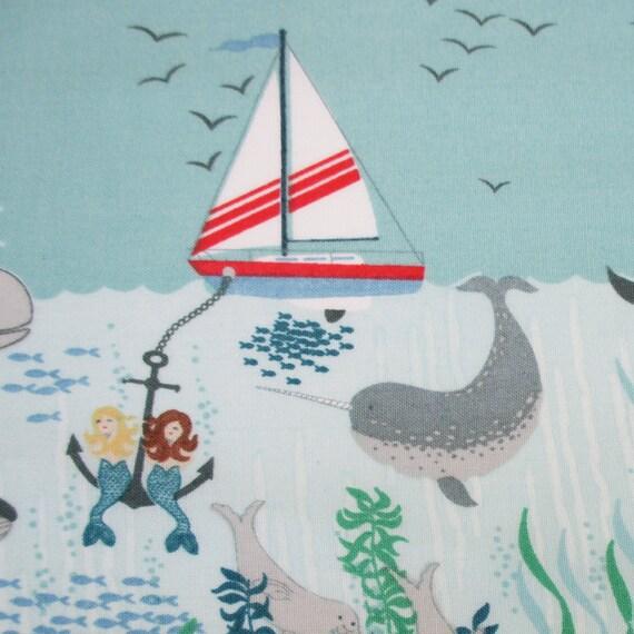 Fabric Tales Of The Sea Sailboat Ocean Double Border