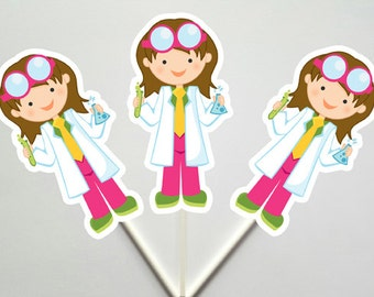 Mad Scientist Cupcake Toppers, Mad Scientist Birthday, Science Girls Cupcake Toppers