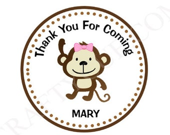 Girl Monkey Goody Bag Tags, Girl Monkey Favor Tags, Girl Monkey Gift Tags, Jungle Goody Bag Tags
