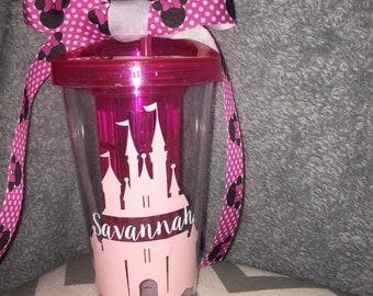 Cinderella's castle personalized tumbler cup