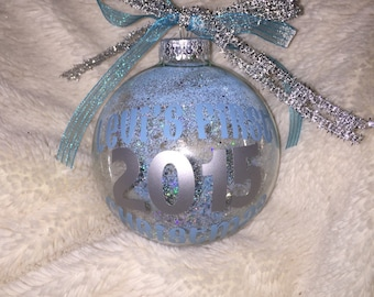 Baby's first christmas glass ball ornament