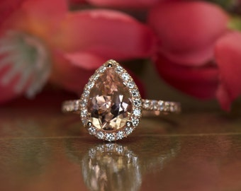 1.50ct Pear Cut Morganite & Diamond Halo Engagement Ring in 14k Rose Gold, 10x7mm Pear, 0.42ctw Diamonds, 1.6mm Band, Fit Flush, Genesis