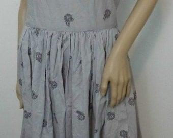 VINTAGE Handmade Halter Style Dress Gray Cute Mid Century Retro Wear Vintage Dress Handmade Vintage Clothing Summer Vintage Dress