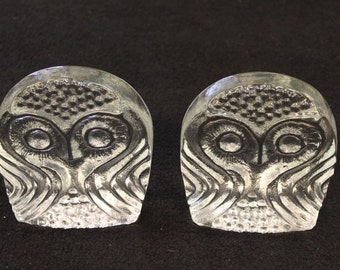 Vintage Mid Century Modern Blenko Glass Owl Book Ends