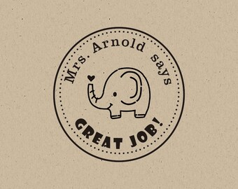 elephant stamp -Teacher Stamp - Teacher's Great Job Custom Stamp- Teacher Stamp - teacher gift - custom stamp - classroom stamp