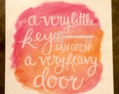 A Very Heavy Key Watercolor Quote Canvas