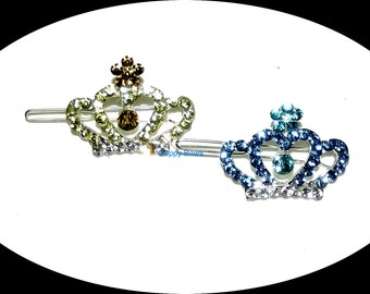 Puppy Bows ~Rhinestone TIARA crown barrette dog bow clip blue pink YORKIE ~USA seller