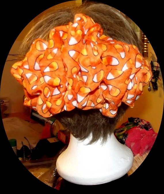 Becky Bows ~ recycled  Hand crafted  BIG hair bow Women or Girls giant Halloween candy corn orange