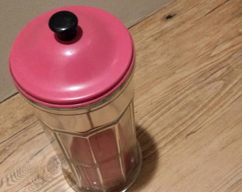 Midcentury Red Straw Dispenser Vintage Glass Gemco Retro Kitchen