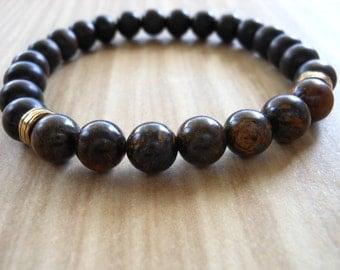 Bronzite Tiger Ebony Wood Mala Bracelet, Healing & Balancing, Mala Bracelet, Yoga, Buddhist, Meditation, Prayer Beads