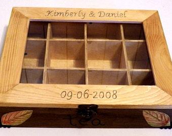 Custom Tea Box, Tea Storage Box Kitchen Box Wood Tea Box, Tea Bag Box, Wooden Tea Box, Decorative Box with Dividers Kitchen Organizer