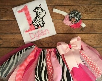 ON SALE Pink Zebra Birthday Scrap Fabric Tutu Outfit