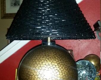 Metallic Gold & Black Ball Lamp with Wicker Shade