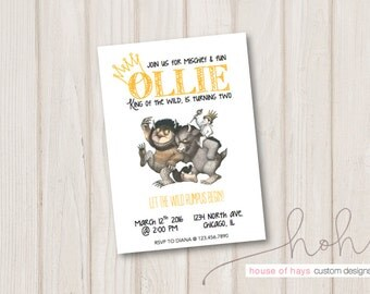 Where The Wild Things Are inspired Birthday Party Invitations