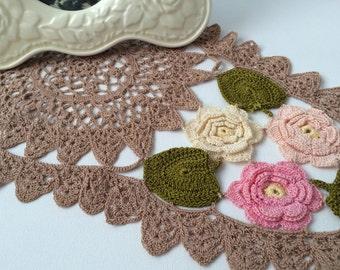 Beautiful Vintage Hand-Crochet Floral Doilie