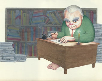 Andy Rooney original watercolor painting by Disney Artist Dave Woodman