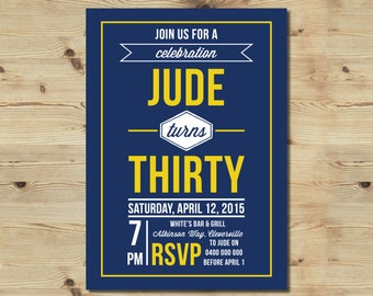 30th Birthday Invitation - Printable - Customised - Male Invitation - Retro