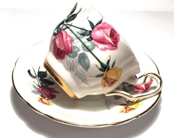 Pretty Tea cup and Saucer, Pink and Yellow Roses Teacup, Royal Westminister, Bone China, Tea party cup, Vintage Teacup Seller in Canada