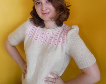 "Pink and Cream ""Dotty"" 1940s style sweater WWII"
