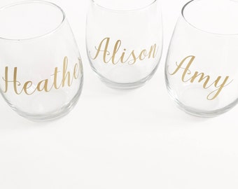 Personalized Stemless Wine Glass Bridesmaids gift/hostess gift