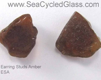 Amber South Shore, Nova Scotia sea glass earring studs on surgical steel posts with butterfly clutch
