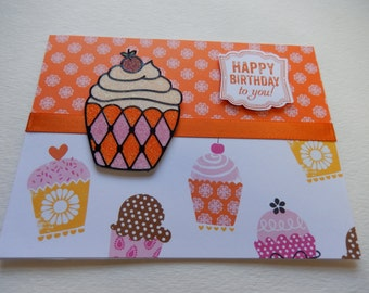 Handmade Pink and Orange Glitter Cupcake Birthday Card
