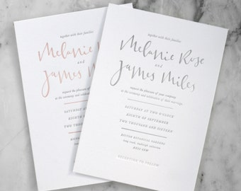 Letterpress Classic Calligraphy Wedding Invitation (50 Pieces)