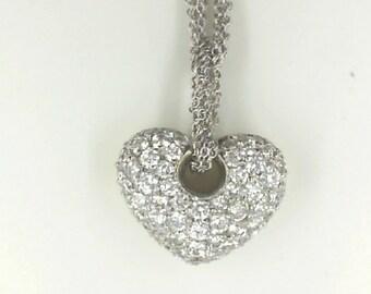 Diamond Puffed Heart Pendant