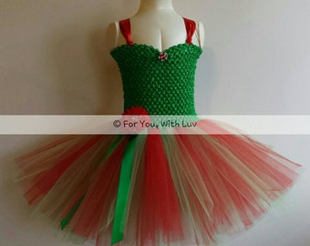 Red and Green Christmas Tutu Dress.