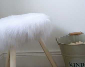 Fur stool, wooden fur footstool, sidetable. Shabby chic. Upcycled.