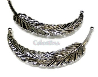 2 Antique Silver Leaf Connectors, Antique Silver Leaf Charms, Antique Silver Feather Links, Feather Connectors, Large Leaves 90mm - TS335