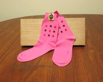 SALE Vintage 1950s 1960s NOS original foil label pink socks polka dots cotton anklets stockings Gil Ades Sox