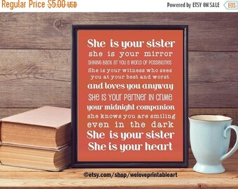 60% OFF SALE Gift Ideas for Sister, Coral Decor, Gifts for Sister, Printable Art, Sister Quote Poster, Christmas Gift Ideas for Sister, Birt
