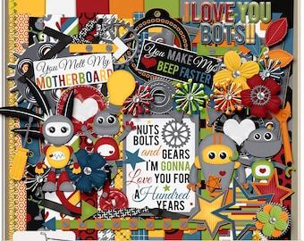 I Love You Bots Digital Scrapbook Kit