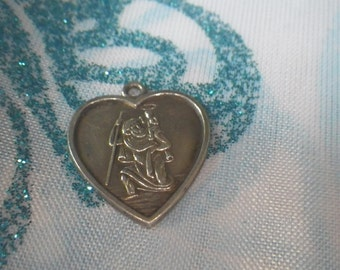 Unusual Sterling Silver Heart St Christopher Necklace Pendant