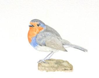 "ORIGINAL 5""x7"" Watercolor Robin Painting - Watercolor Bird, Robin art, Bird Painting, Spring Art, Nursery Art"