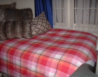 Pottery Barn Red Pink Plaid TWIN Duvet