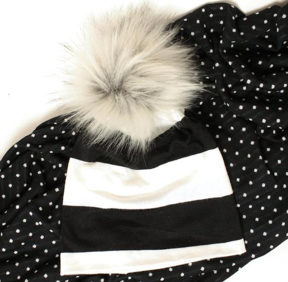 Baby Hat with Fur Pom Pom