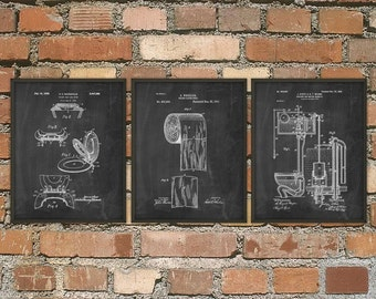 Toilet Inventions Patent Print Set Of 3 - Bathroom Poster - Restroom Wall Art - Bathroom Print - Lavatory - Toilet Roll - Toilet Design