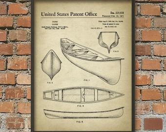 Canoe Patent Print - Vintage Canoe - 1971 Canoe Design - Kayaking - Canoe Illustration - Canoe Patent Art